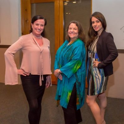 SFPBW President (left Katrina Johnson 2017-2018), PBW State Treasurer (middle Monica Hardeman) with SFPBW Young Professional Winner (right Shelbie Loomis)
